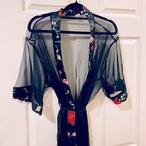 ✨ Host Pick✨ Black Floral Print Mesh Belted Robe ~ Size: S/M